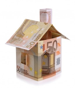 Euro house made ​​from banknotes isolated