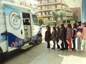Το κινητό πολυϊατρείο «ΙΠΠΟΚΡΑΤΗΣ» στο Μαρούσι.