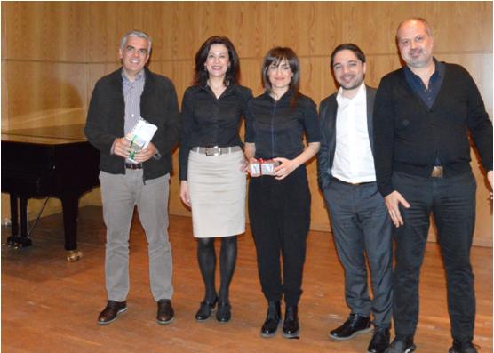 (από αριστερά) Οι κ.κ. Στέλιος Σοφιανός (The Newtons Laboratory), Ροδούλα Τσιότσου (Πανεπιστήμιο Μακεδονίας), Μάγδα Παπαδοπούλου (Orange), Λεωνίδας Χατζηθωμάς (Πανεπιστήμιο Μακεδονίας) και Μηνάς Θεοχαρίδης (Minds).