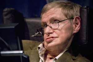 Professor of mathematics at Cambridge University Stephen W. Hawking discusses theories on the origin of the universe in a talk in Berkeley