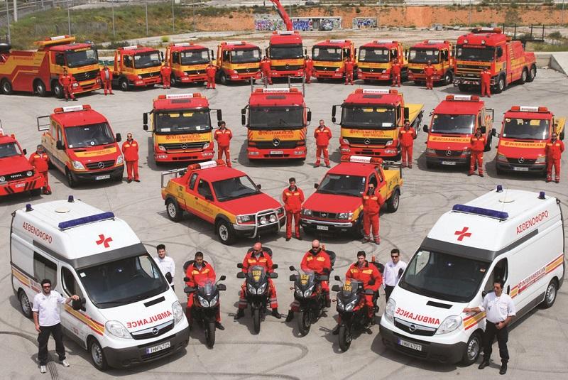 Ένα μέρος του ιδιόκτητου στόλου οχημάτων βοήθειας της INTERAMERICAN