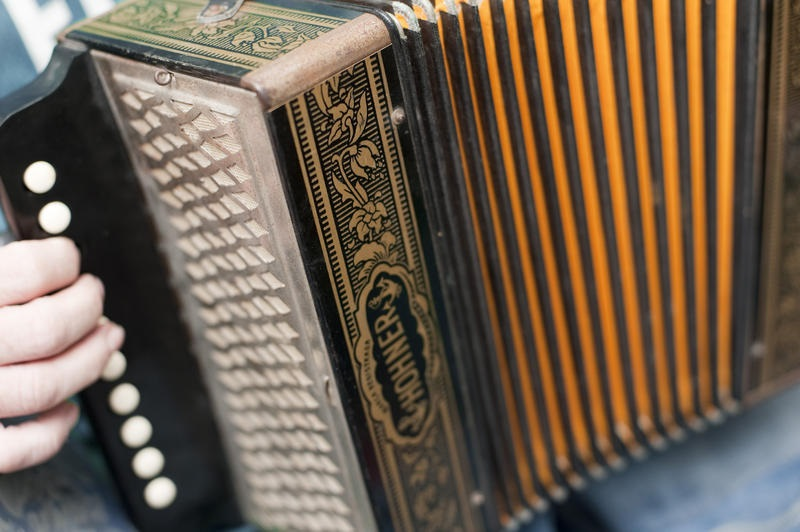 fingers pressing musical keys while playing the accordion