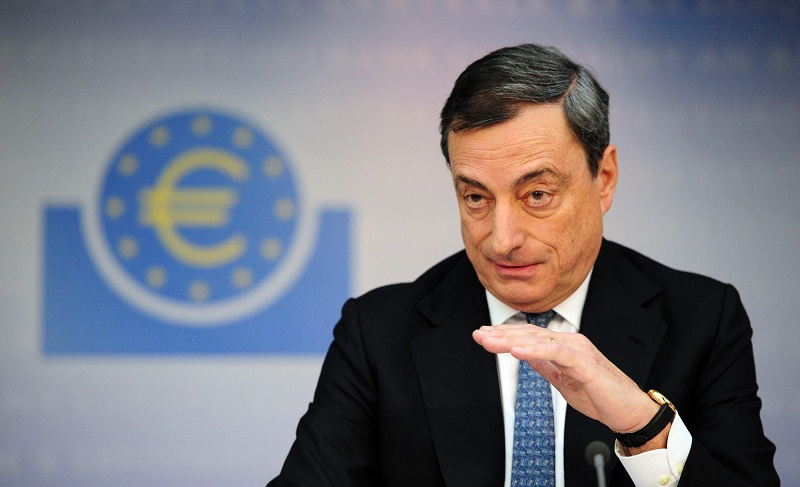 The president of the European Central Bank (ECB) Mario Draghi speaks during the press conference in Frankfurt am Main, Germany, 07 November 2013.  The ECB has lowered the base rate in the euro area on to 0,25 per cent.  European Central Bank chief Mario Draghi said the ECB believes the eurozone's economy has been growing at a modest pace for the second half of 2013. ANSA/DANIEL REINHARDT