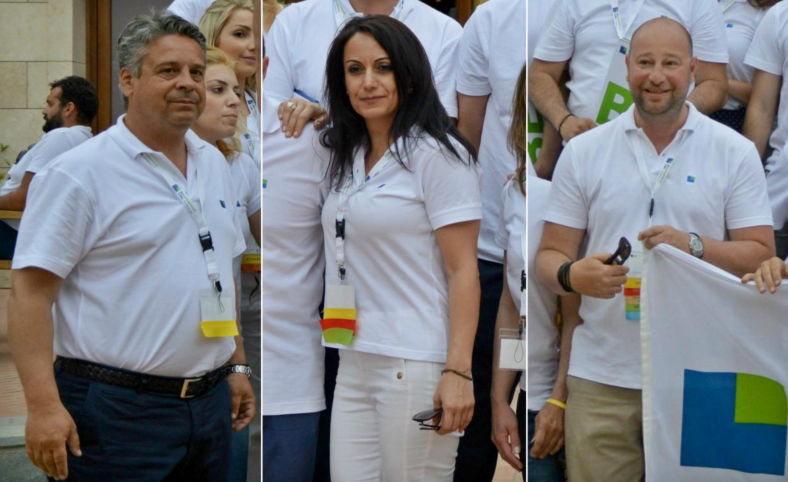 Από αριστερά: Κωστής Λιαρομμάτης (Επιθεωρητής), Αθηνά Πεφανίου & Κωνσταντίνος Φλόκας. Οι φωτογραφίες τον προσώπων είναι από την ετήσια εκδήλωση του agency της International Life το 2015 στο Costa Navarino