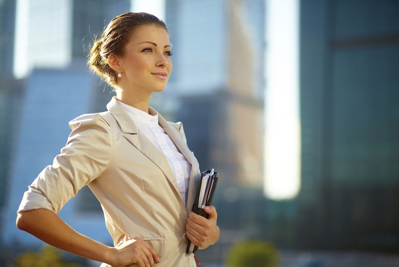 Portrait of cute young business woman