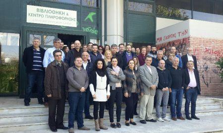 Εξειδικευμένοι στις αγροτικές ασφαλίσεις συνεργάτες της INTERAMERICAN, στην είσοδο του Γεωπονικού Πανεπιστημίου Αθηνών.