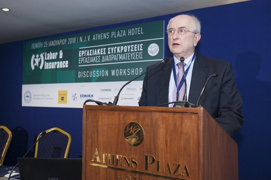 Ο Πρόεδρος της Επιτροπής Ασφαλιστικών και Εργασιακών Θεµάτων του Ελληνο-Aµερικανικού Εµπορικού Επιµελητηρίου, ομότιμος καθηγητής & ∆ιεθνής ∆ιαιτητής, κ. Κωνσταντίνος Κρεμαλής