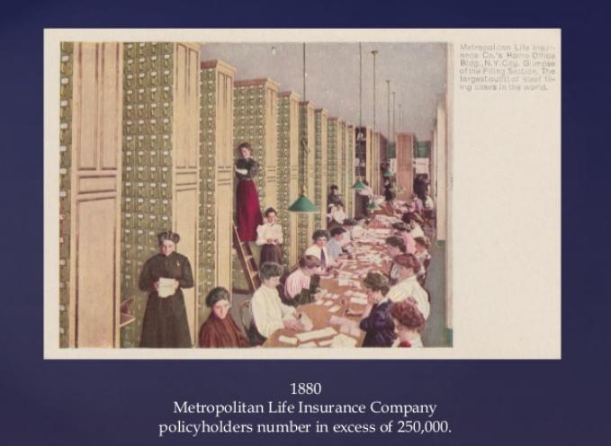 τα γραφεια της Metropolitan στη Νεα Υόρκη σε ζωγραφιά, οι εργαζόμενοι που έκαναν συμβολαια