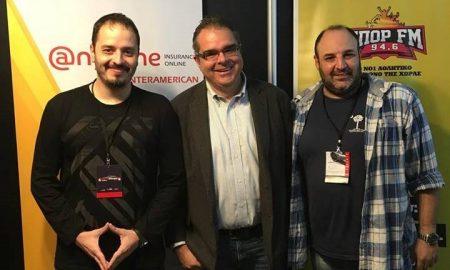 (Από αριστερά) Αλέξανδρος Τσουβέλας, Πάνος Κούβαλης, διευθυντής direct business manager της Anytime, Σταύρος Χονδροθύμιος.