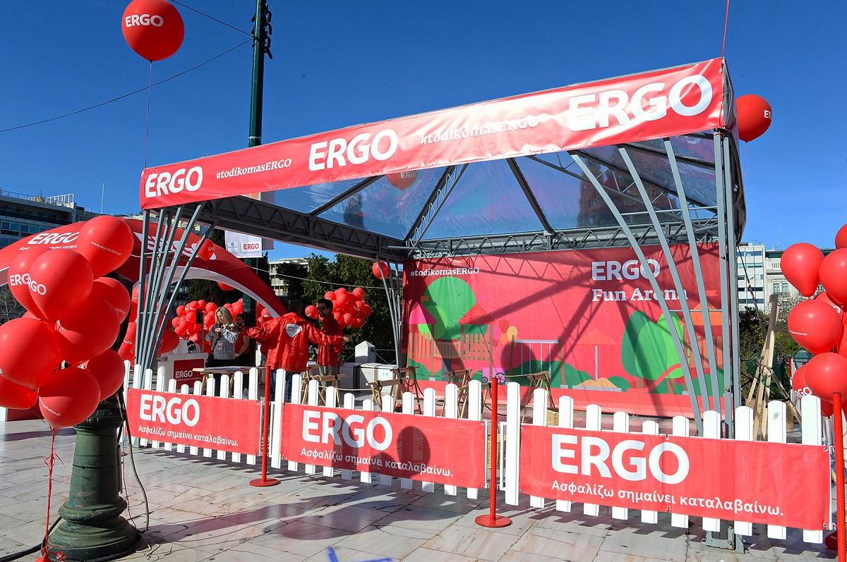 Στιγμιότυπο από τις παιδικές δράσεις στο περίπτερο της ERGO (ERGO Fun Arena)