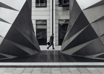 black-and-white-city-businessman-building