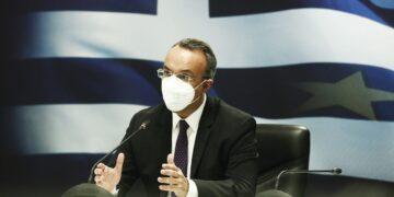 Ο υπουργός Οικονομικών Χρήστος Σταϊκούρας μιλάει στη συνέντευξη τύπου για τα νέα μέτρα οικονομικής στήριξης πληγέντων από την πανδημία covid 19, στο Υπουργείο Οικονομικών, Πέμπτη 11 Μαρτίου 2021. ΑΠΕ- ΜΠΕ/ΑΠΕ- ΜΠΕ/ΑΛΕΞΑΝΔΡΟΣ ΒΛΑΧΟΣ