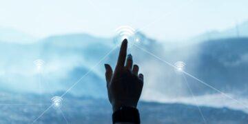 digital-communication-technology-background-with-hand-touching-virtual-screen-digital-remix
