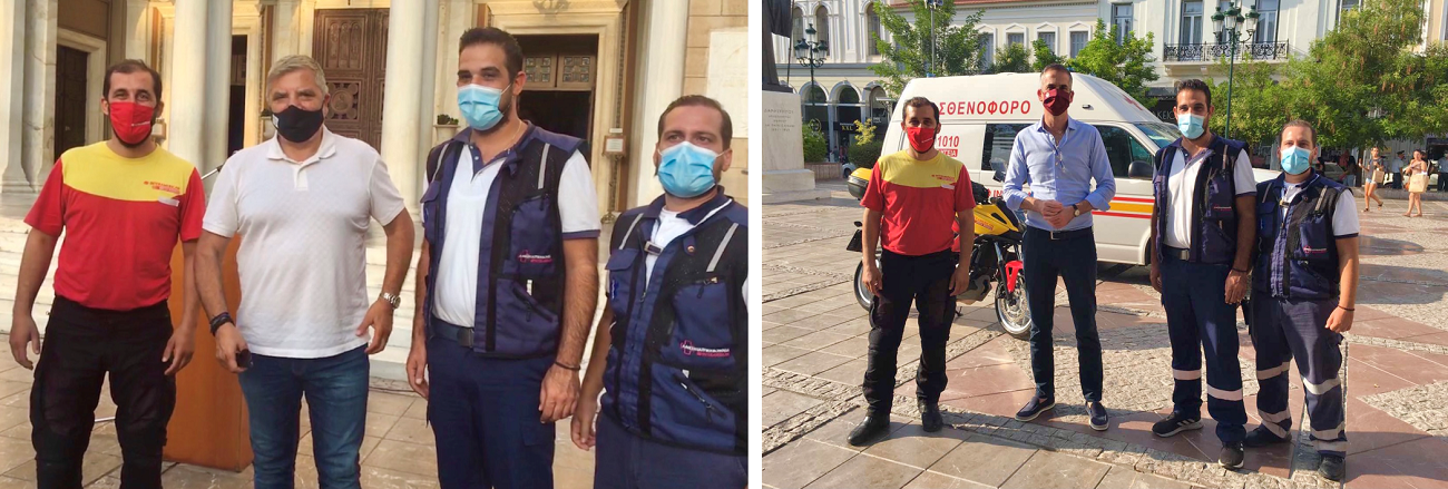 Διασώστες της INTERAMERICAN Bοήθειας με τον Περιφερειάρχη Αττικής, Γιώργο Πατούλη και τον Δήμαρχο Αθηναίων, Κώστα Μπακογιάννη.