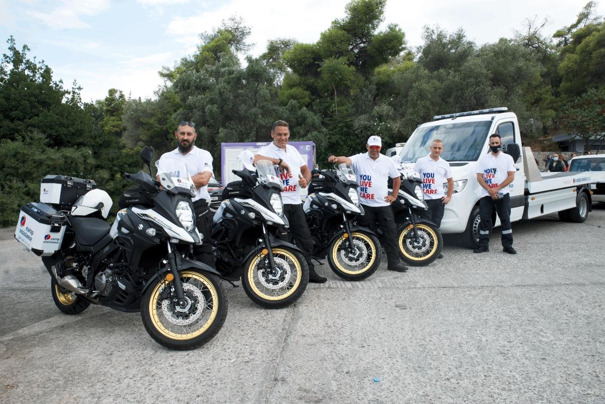 Η ομάδα υποστήριξης της Europ Assistance στην αφετηρία του EKO Rally Acropolis 2021
